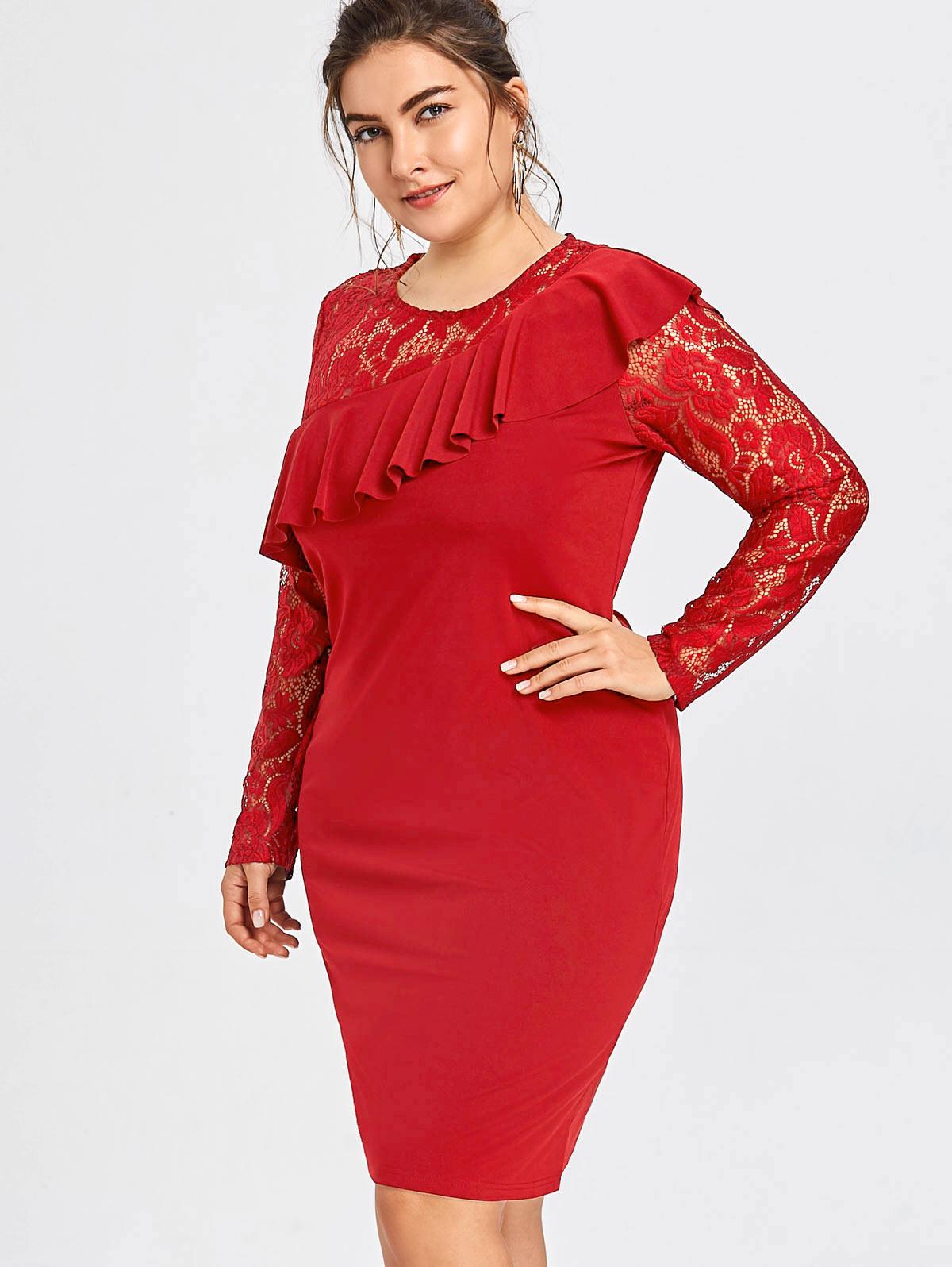 Wipalo New 2019 Fashion Dresses Plus Size 3XL-6XL Lace Insert Ruffle Semi Formal Dress Women Sexy Bobycon Party Dress Vestidos semi formal summer dresses