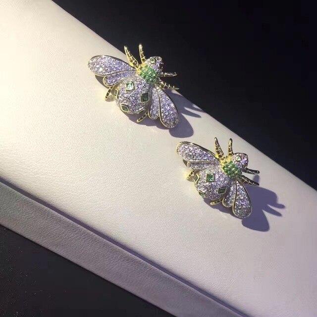925 sterling silver with cubic zircon bee stud earring fine women jewelry free shipping