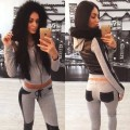 Casual Plus Size Women Tracksuit 2 Piece Set Sportwear Women Leather Patchwork Pants Hoodie Sweatshirt Joggings Femme