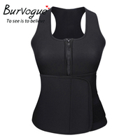 Burvogue Women Neoprene Body Shaper Waist Shaper Hot Shaper Summer Sport Shaperwear With Zipper Slimming Shaperwear