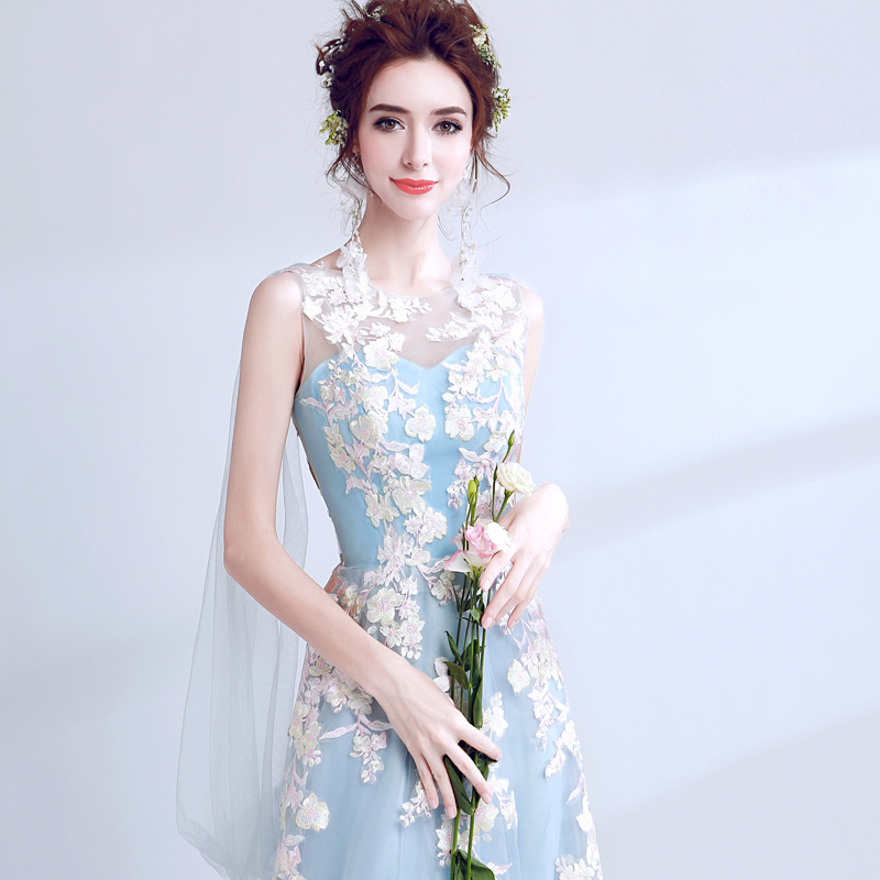 Long fairy sky blue sweat lady girl women princess bridesmaid banquet party  dress gown free shipping-in Bridesmaid Dresses from Weddings   Events on ... 7d635922055d