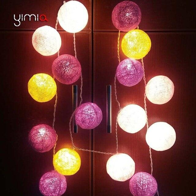 YIMIA Coton Boules Lumi¨res LED De No l éclairage Extérieur Cordes