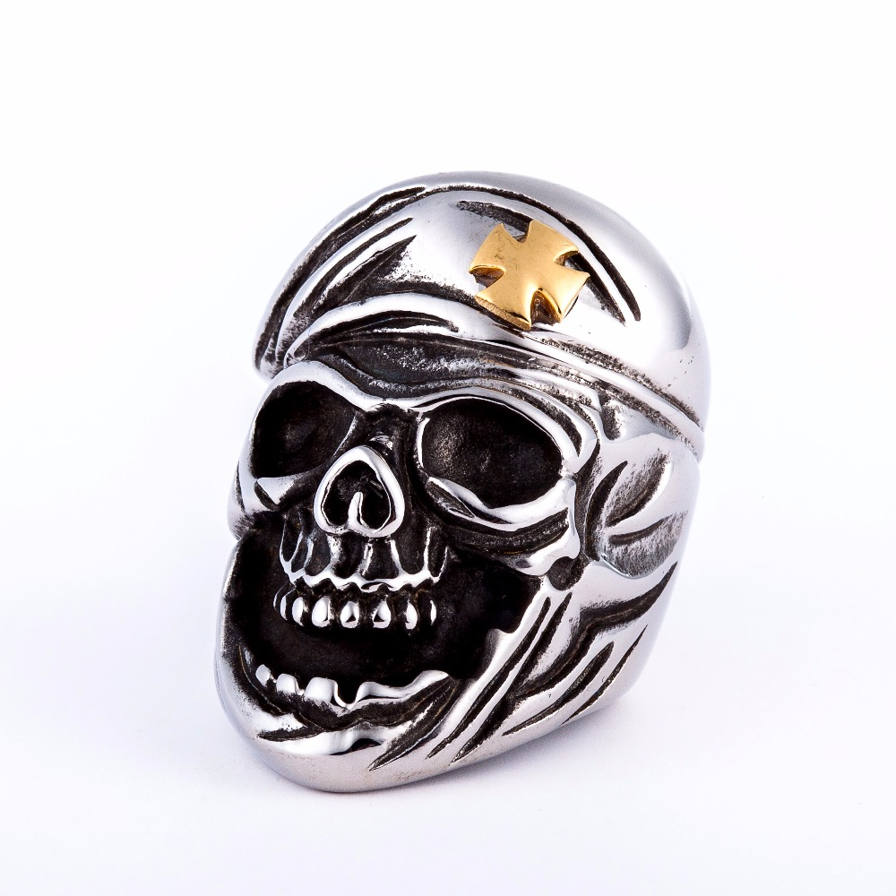 2017 punk jewelry 316L stainless steel rings crusader skull ring,silver men ring anillos hombre,bagues bikers acier inox