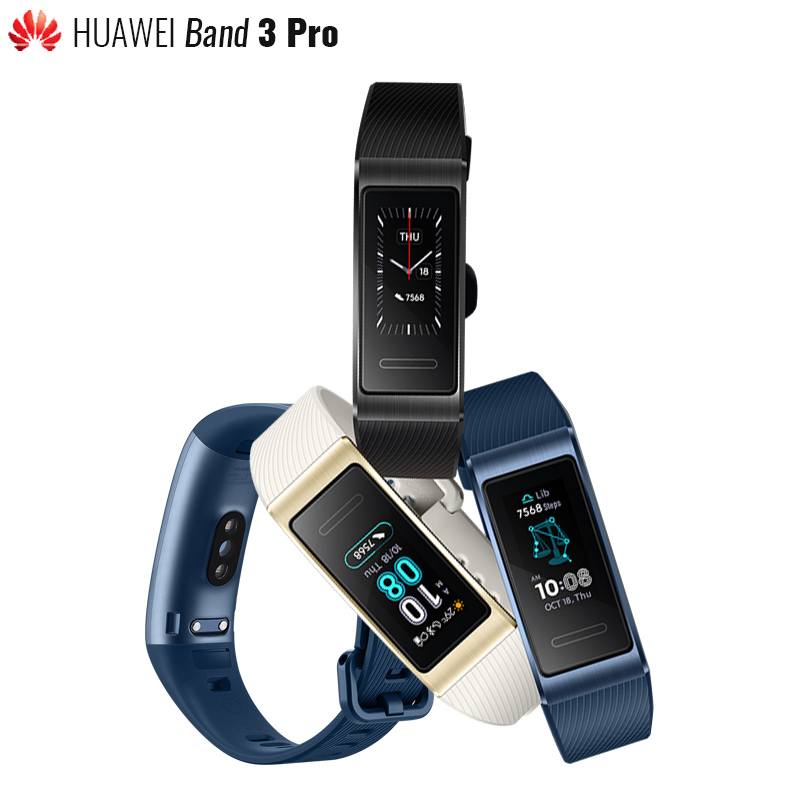 Original Huawei Band 3 Pro Smartband GPS Metal Frame Swim Stroke Amoled Full Color Display Touchscreen