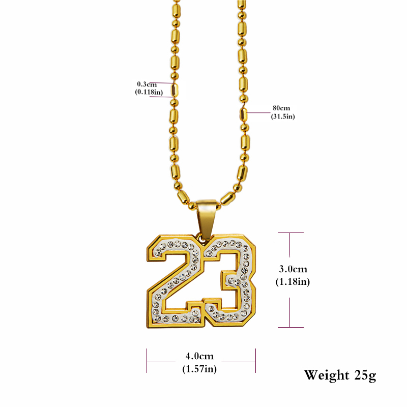Well known NYUK Number 23 Pendant Necklace With Crystal Rhinestone Long Chain  GJ97