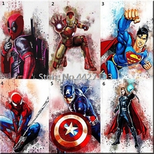 New Cartoon Full Round 5D DIY Diamond Painting Super heros Icon 3D Cross Stitch Crystal mosaic Decoration Gift