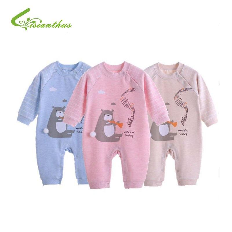 Комбинезон с длинными рукавами для новорожденных девочек и мальчиков 0-9 месяцев, хлопковый комбинезон с рисунком для малышей, детская одежд...