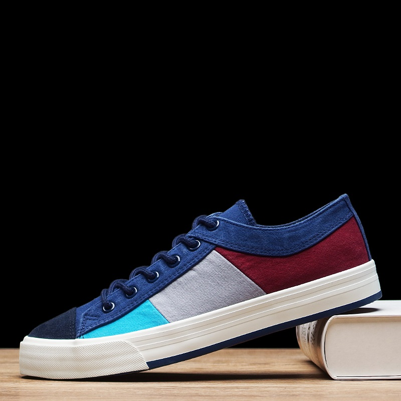 ФОТО 2016 New Arrival Canvas Shoes Men Breathable Fashion Patchwork Mens Casual Shoes Canvas Flat New Trend Men Shoes Size 39-44