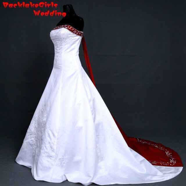 f765ef83b2 BacklakeGirl Good Quality Satin Bridal Gown Strapless Court Train Red and  White Color Lace Up Back