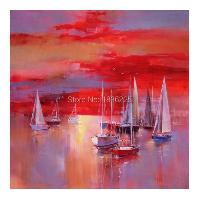 Bien-aimé Fournitures d'art mur paysages marins mer et bateau peinture à l  QA97