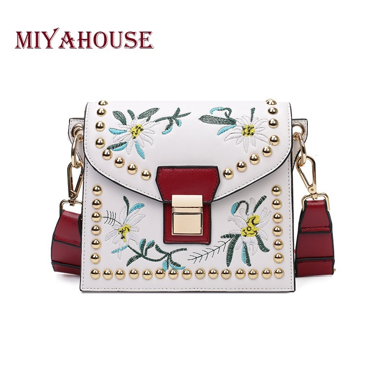 Miyahouse Fashion Women Leather Messenger Bag Floral Embroidery Ladies Small Crossbody Bags Famous Brand Shoulder  Bag Girl 2017 fashion all match retro split leather women bag top grade small shoulder bags multilayer mini chain women messenger bags