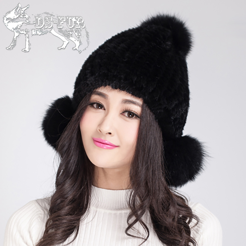 ФОТО Women's Hat 2016 Newest Fashion Knitted Real Mink Fur Fox Fur Pom poms Cap Winter Warm Beanies High-Quality Genuine Fur Hat