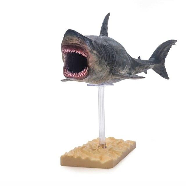 PNSO Megalodon Акула с кронштейном Стенд Поддержка Классические игрушки для детей мальчиков Морская жизнь древние фигурки животных модель