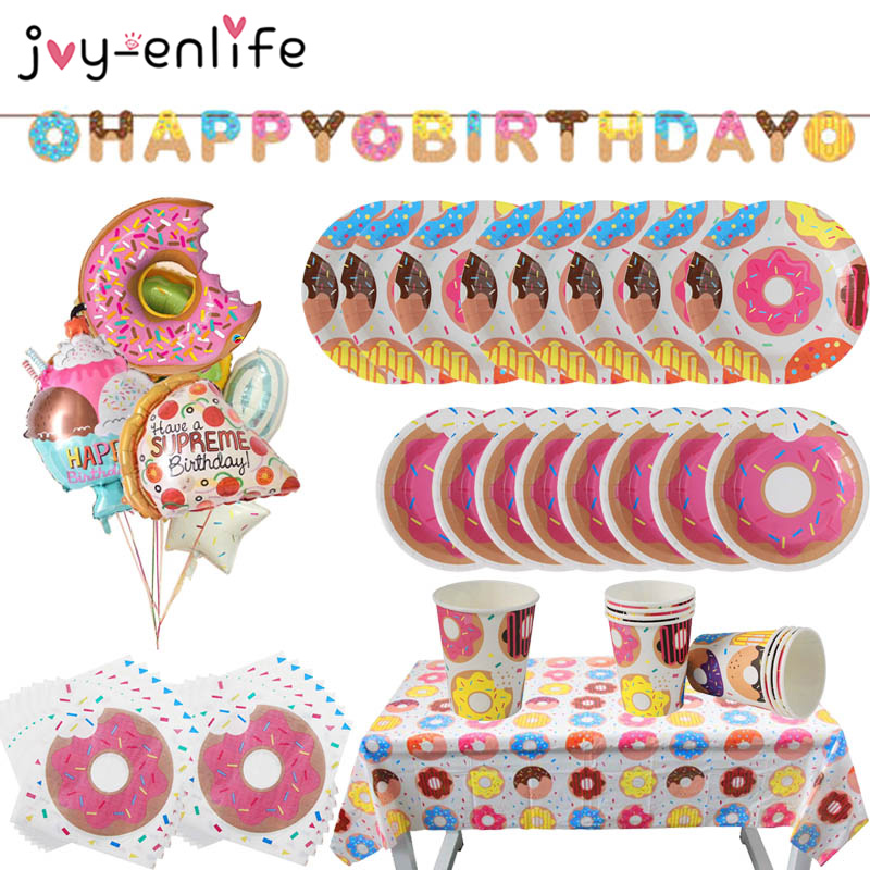 Doughnut Banner Paper Cup Napkin Plates Happy Birthday Anniversary Baby Shower Candy Bar Party Decoration Donut Party