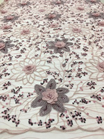 3D Fabric Flowers African Sequin Embroidery Nigerian Tulle Lace Fabric French Net Lace With Stones And Beads For Dress