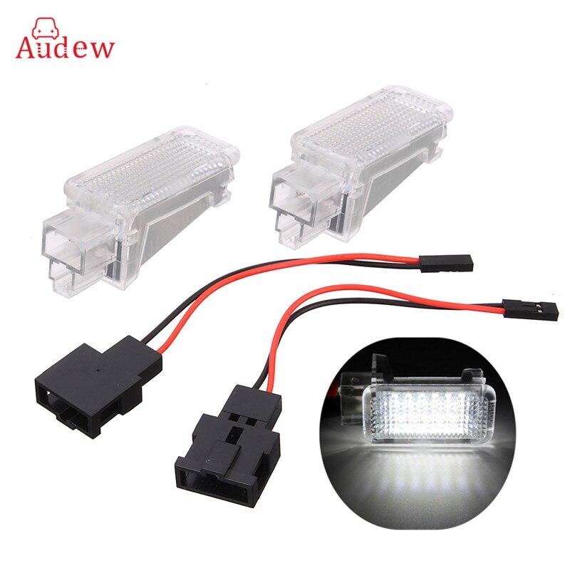 2 unids 12 V coche LED puerta cortesía luz del proyector para Audi A3/A4/A6/VW skoda nido pie luces fantasma sombra luz lámpara 6500 K blanco