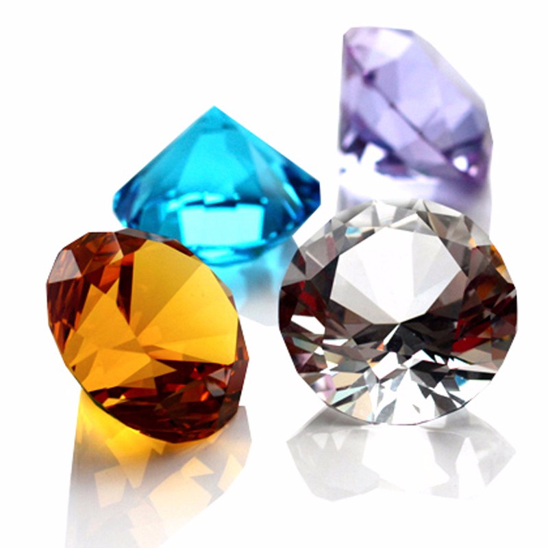 3CM Diameter Quartz Crystal Diamond 3D Glass Beads Ornaments 9 Colors Natural Stone Minerals for Gifts Home Decor Amethyst Stone 5