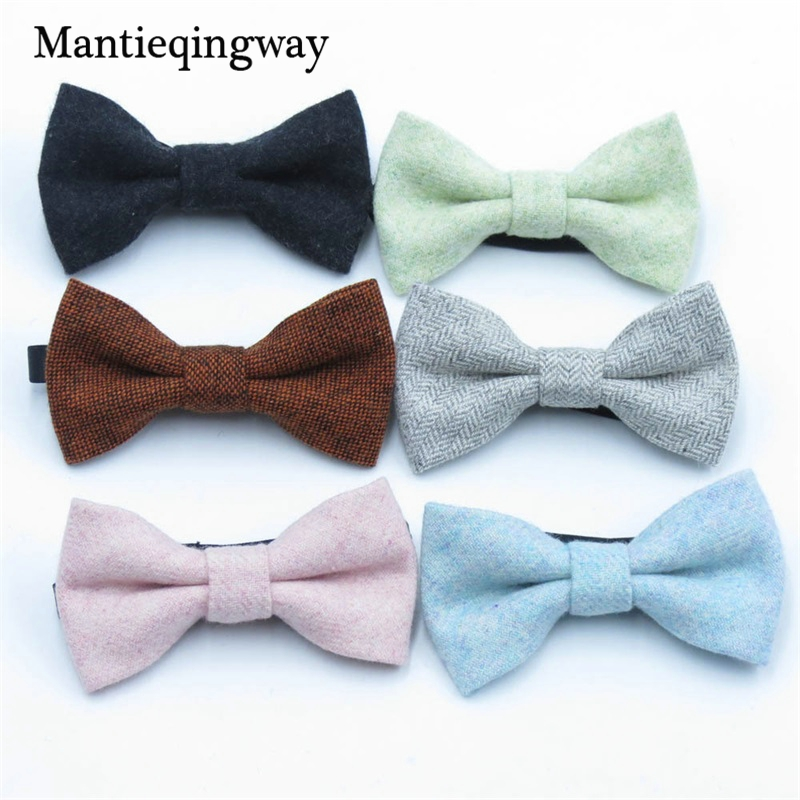 Children Wool Bow Tie For Baby Boys Skinny Bowtie Solid Color Child Bowties Gravatas Borboleta Collar Kids Ties
