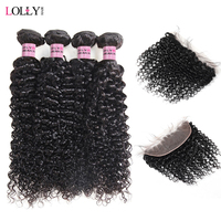 Lolly Brazilian Curly Human Hair Weave Bundles With Frontal 4 Bundles Remy Hair With Free Part Ear To Ear Lace Frontal Closure