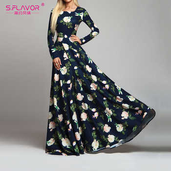 S.FLAVOR Women Retro Floral Printed Dress Fashion Long Sleeve O Neck Sexy Long Dresses Autumn Winter Elegant Party Vestidos De - DISCOUNT ITEM  45% OFF All Category