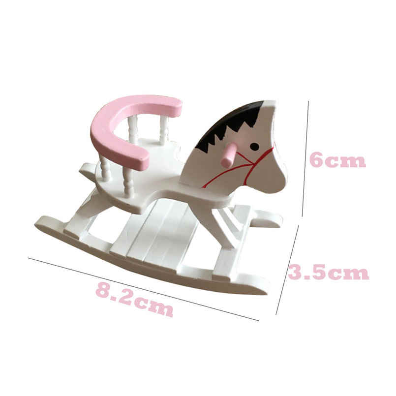 Dollhouse Miniature White Wooden Rocking Horse Chair Nursery Room Furniture 1:12 Doll House Accessories Toys for Children 15