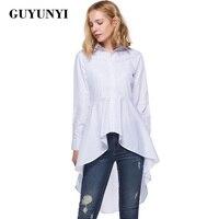 GUYUNYI Weiße Bluse Shirt Frauen Neue Mode Blusas Büro Damen Frühling Langarm Revers Hoch Niedrige Rand Asymmetrischen Oberen Y186