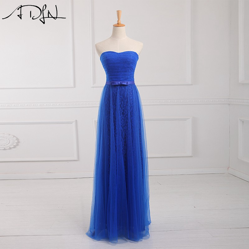 ADLN Simple Blue   Bridesmaid     Dresses   Elegant Sweetheart Sleeveless Plus Size Maid of Honor   Dress   2019 Formal Gown