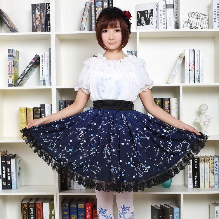Jupe lolita japonaise douce impression mignonne taille haute vintage dentelle victorienne jupe kawaii fille gothique lolita sk princesse loli cos