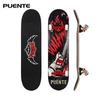 PUENTE ABEC 9 Adult Four Wheel Skateboard Double Snubby Maple Skate Board 7 Layer Maple Longboard Skateboarding Entertainment