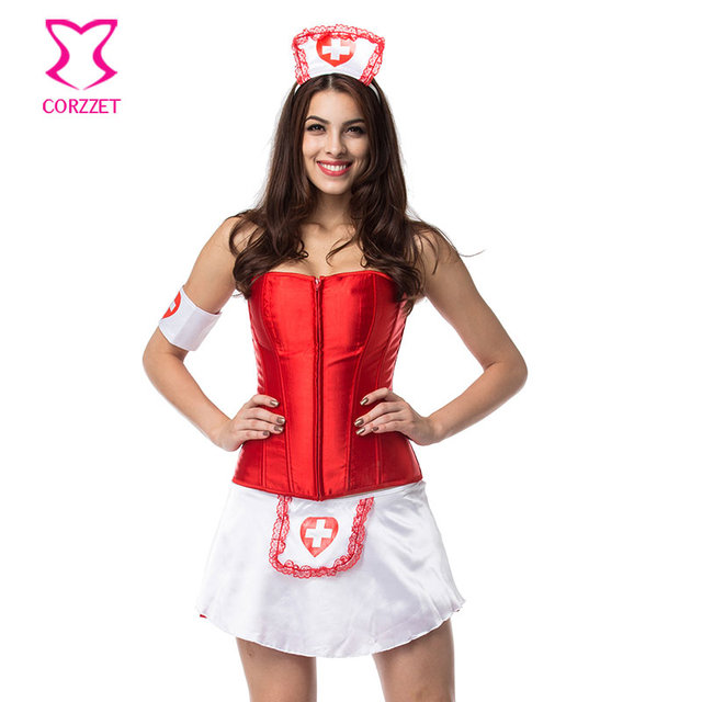 Halloween Women Red White Doctor Nurse Costume Plus Size Sexy