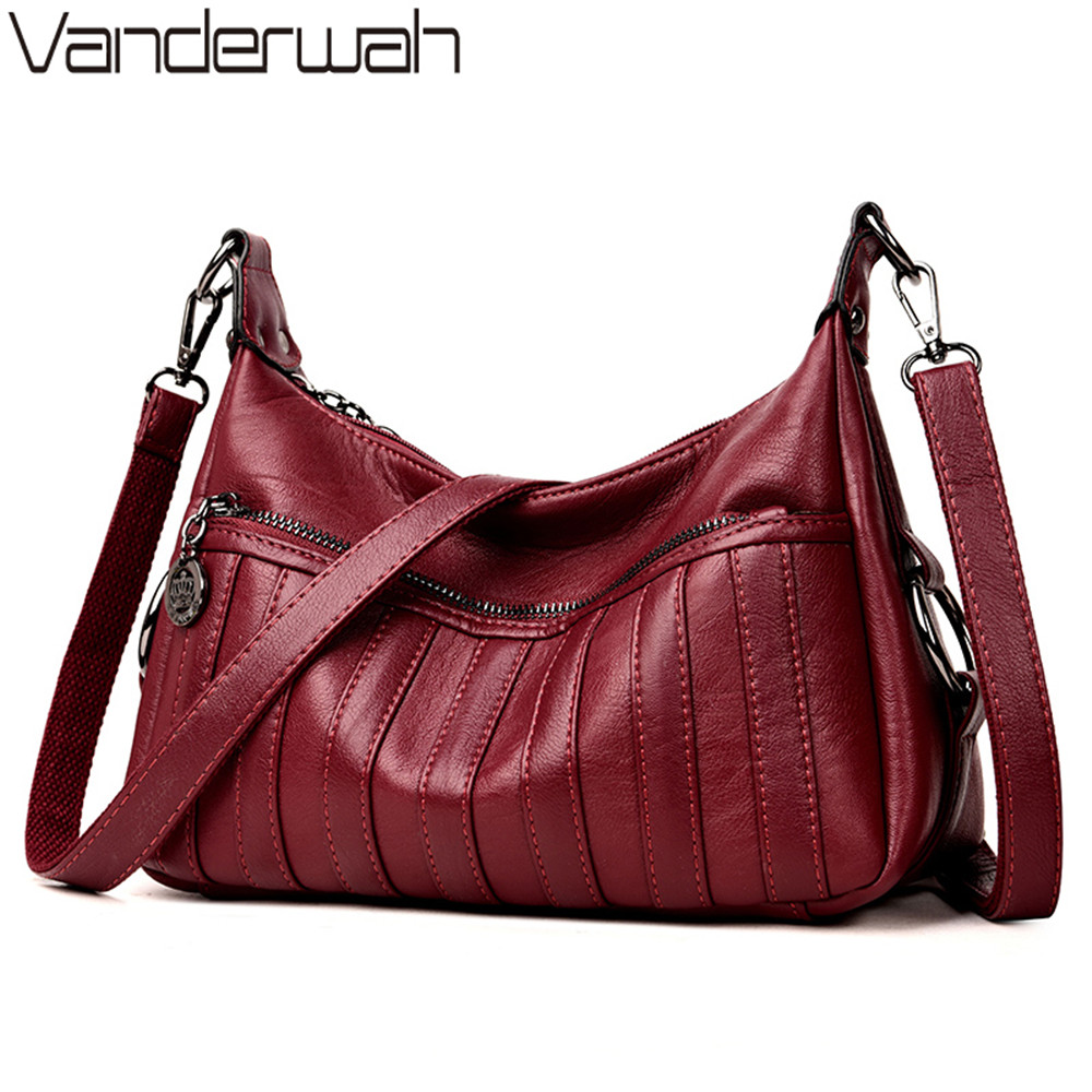 все цены на VANDERWAH Women Leather Handbags Women Messenger Bags Designer Crossbody Bag Women Tote Shoulder Bag Summer style Top-handle Bag