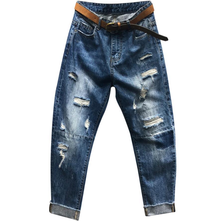 Plus Size 26-31!Fashion High Waist Women Denim Pants Blue Hole Casual Jeans Female Loose Harem Pants Ankle Length