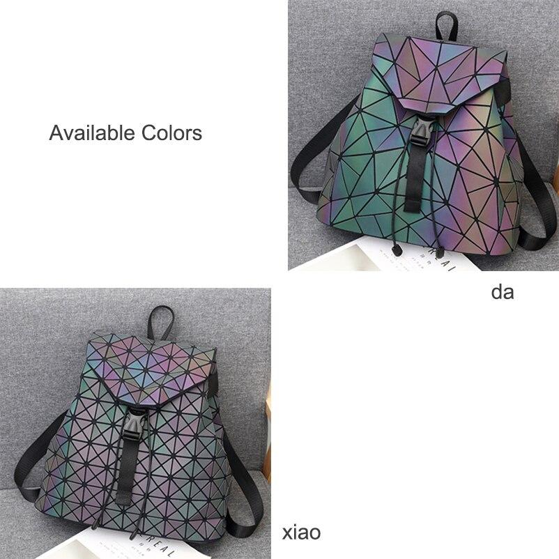 Nevenka Luminous Backpack Women Leather Geometric Backpacks Diamond Lattice Drawstring Backpacks Holographic Backpack Purse 2018 #5