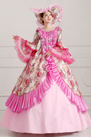 European Court Dress Pink Luxury Long Make Up Party Dress Halloween Cosplay Costumes Countesses Renaissance Queen Dress