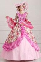 European Court Dress Pink Luxury Long Make Up Party Dress Halloween Cosplay Costumes Countesses Renaissance Queen Dress