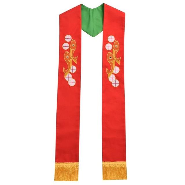 Santo Sacerdote Reversible Robó Peces Cruz Bordado Ornamentos de Iglesia Cáliz Robó