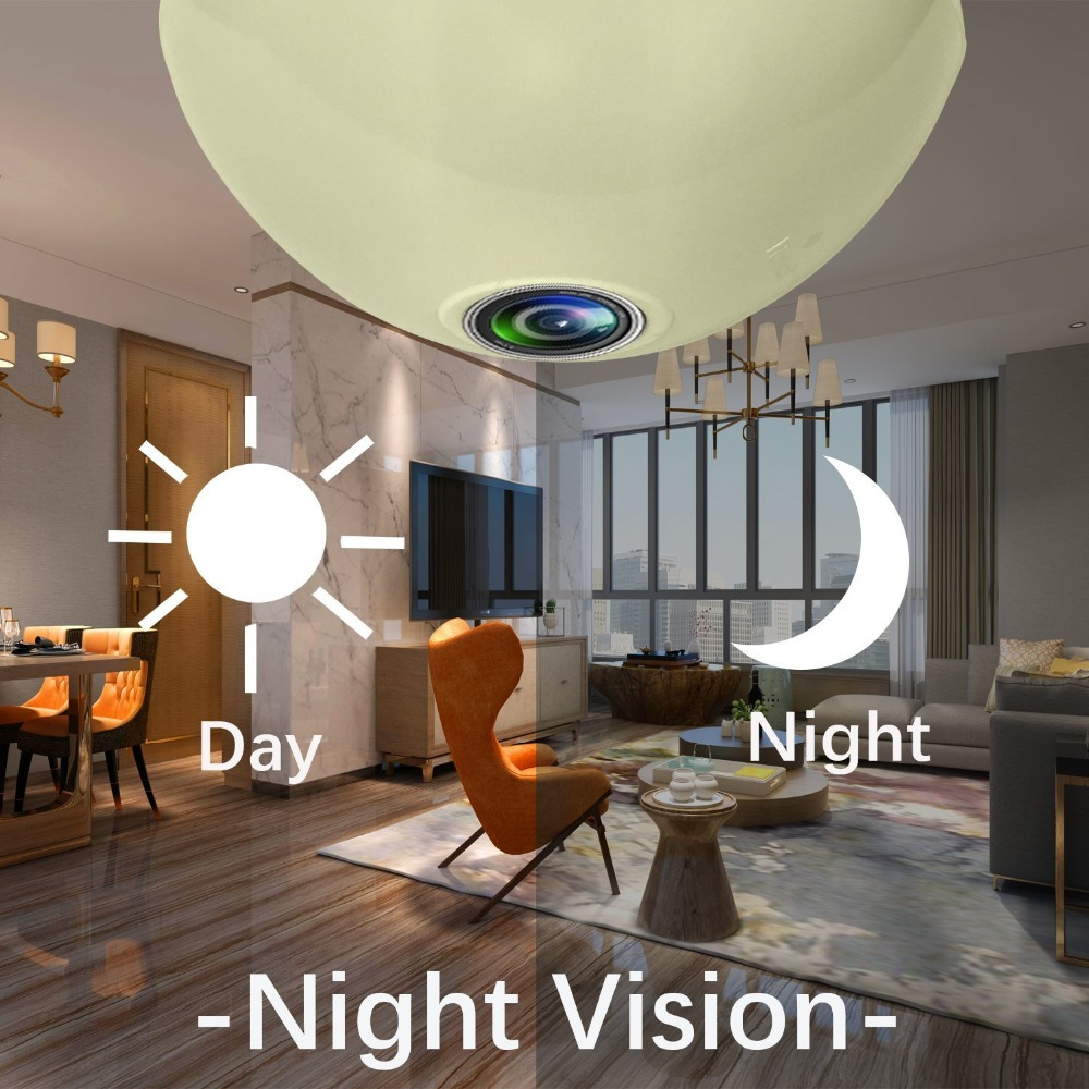 Купить с кэшбэком NEW 360 Video Camera Motion Detection Bulb Light Smart Cameras For Home Security 1.3MP 960P Panoramic Fisheye WIFI Video Camera