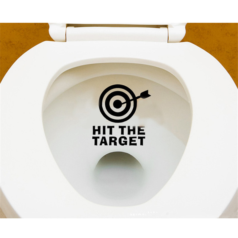 Personality Seat Sign Reminder Quote Word Lettering Vinyl Sticker Hit The Target Waterproof Funny Toilet Sticker