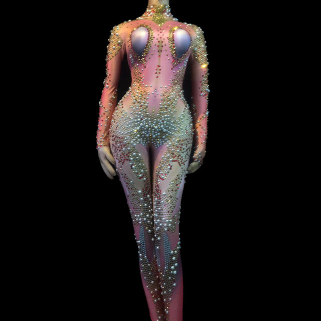 Women Celebrate Festival Leotard Bar Singer Stage Dance Costume Sparkly Crystals Rhinestones Sexy Jumpsuit Nude Stretch Outfit