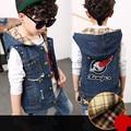 Kids Boys Spring Denim Vests Casual Plus Velvet Warm Vest Autumn 2016 Children Hooded Jacket Free Shipping