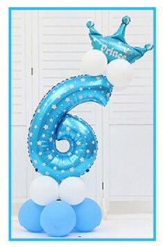 16 шт./упак. розового и голубого цвета для детей 0-9 цифры Большие Гелиевые номер Фольга детей фестивалей Dekoration День рождения шляпа игрушки для детей - Цвет: blue 6