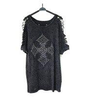 Europe America Street Harajuku Summer T Shirt For Women Rock High Quality Beaded Diamond Tshirt Women