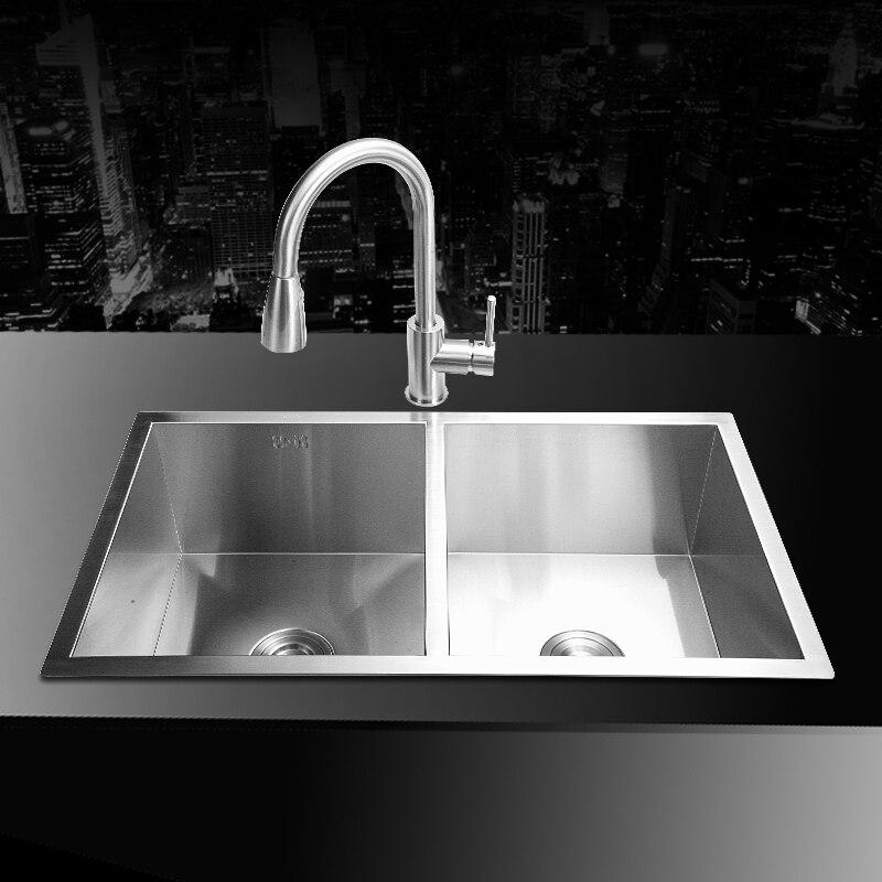 Здесь продается   (80*45*22cm) 304 Stainless steel undermount kitchen sink set double bowl Drawing drainer Handmade brushed seamless sink  Строительство и Недвижимость
