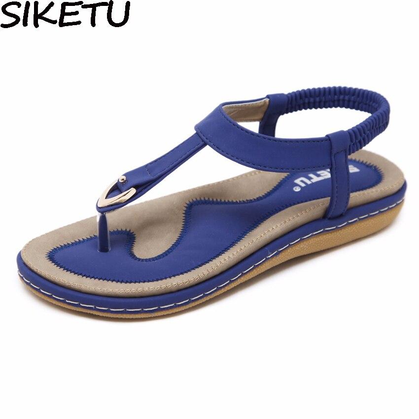 SIKETU Sommer Schuhe Frauen Böhmen Ethnische Flip-Flops Weichen Flachen Sandalen Frau Casual Komfortabel Plus Size Keil Sandalen 35-45