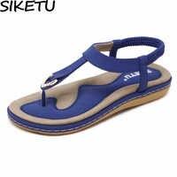 SIKETU chaussures d'été femmes bohême ethnique tongs doux plat sandales femme décontracté confortable grande taille sandales à talons compensés 35-45
