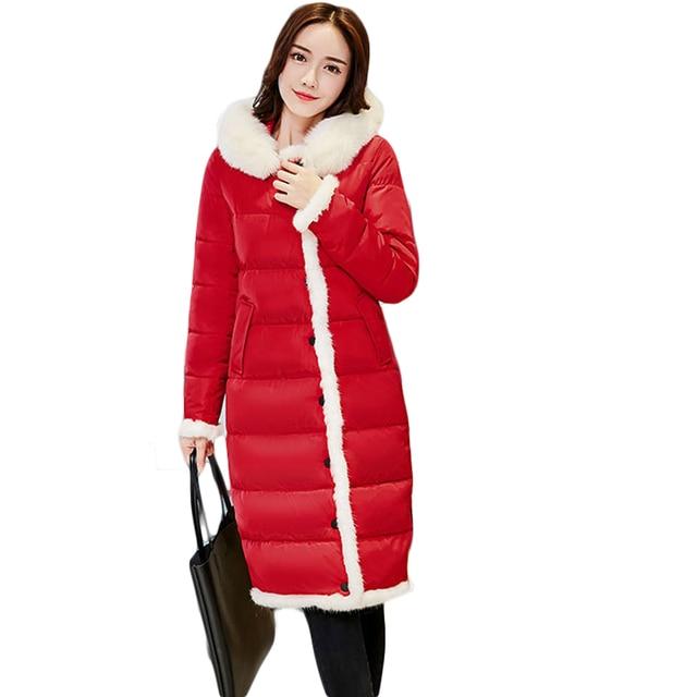new concept 2339d e403d US $62.45 |2018 neue Mode Weibliche Luxus Weiche Fell Kapuze Warme Winter  mantel Damen Lange Maxi Winter Dicke Daunen Baumwolle Jacke Outwear CM1924  ...