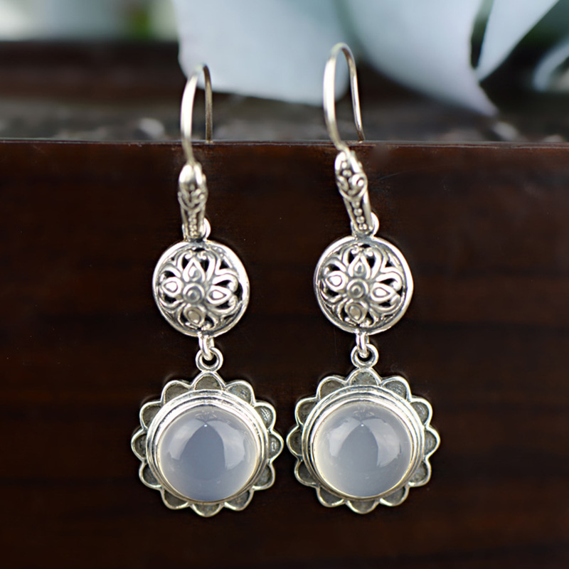 Real 925 Sterling Silver Earrings Natural Gemstone Chalcedony Drop Earring For Women Sunflower Vintage Fine JewelryReal 925 Sterling Silver Earrings Natural Gemstone Chalcedony Drop Earring For Women Sunflower Vintage Fine Jewelry