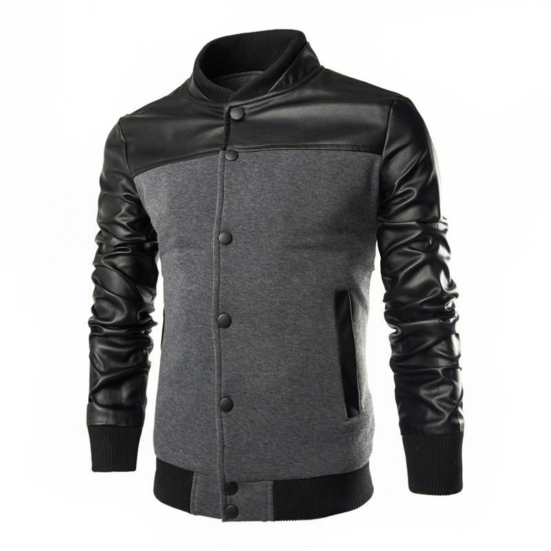 New Fashion Men's PU Leather Stitching streetwear Jacket coat jackets men man