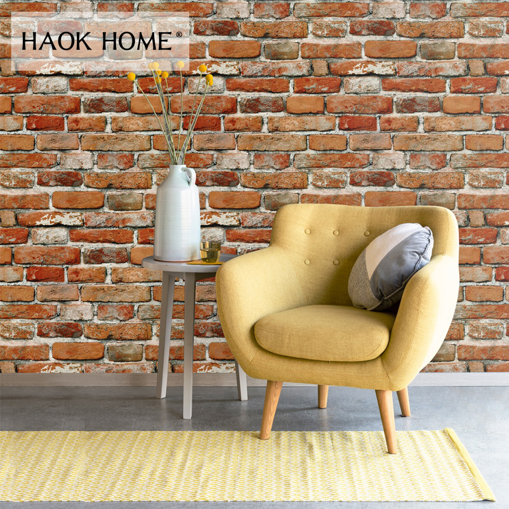 HaokHome Vintage Retro 3d Brick Wallpaper Rolls Vinyl Contact paper Red Distressed Home For Living Room Kitchen Bathroom Decor wallpapers youman 3d brick wallpaper wall coverings brick wallpaper bedroom 3d wall vinyl desktop backgrounds home decor art