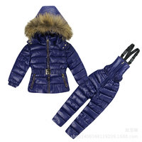 2017 Children's Down Girls Thickening Long Ski Suit Clothing Sets for child cotton Spring and Winter newYD167